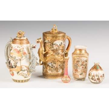 Two Satsuma Teapots and Three Miniature Vases