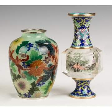 Plique du Jour and  Inside Painted and Cloisonne  Vase