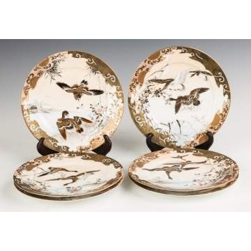 Set of Six Japanese Hand Painted Porcelain Plates  with Birds