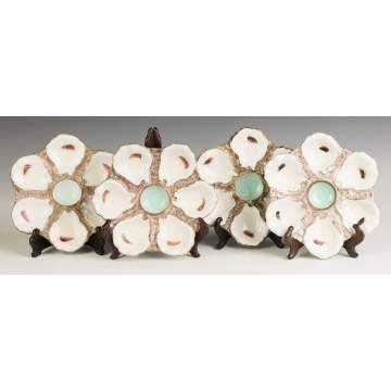 Four French Porcelain Oyster Plates