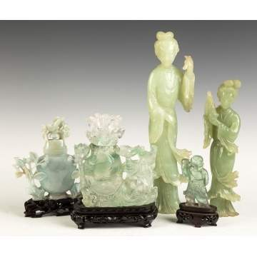 Group of Chinese Rock Crystal and Jade Covered   Vases and Figures