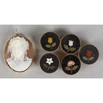 Victorian Cameo Pin & Five 14k Gold Pietra Dura  Cuff Links