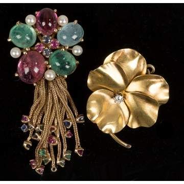 18k Gold Brooch with Diamond
