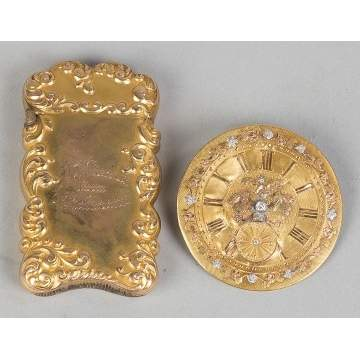 Gold Match Safe and Gold Clock Dial w/Diamond