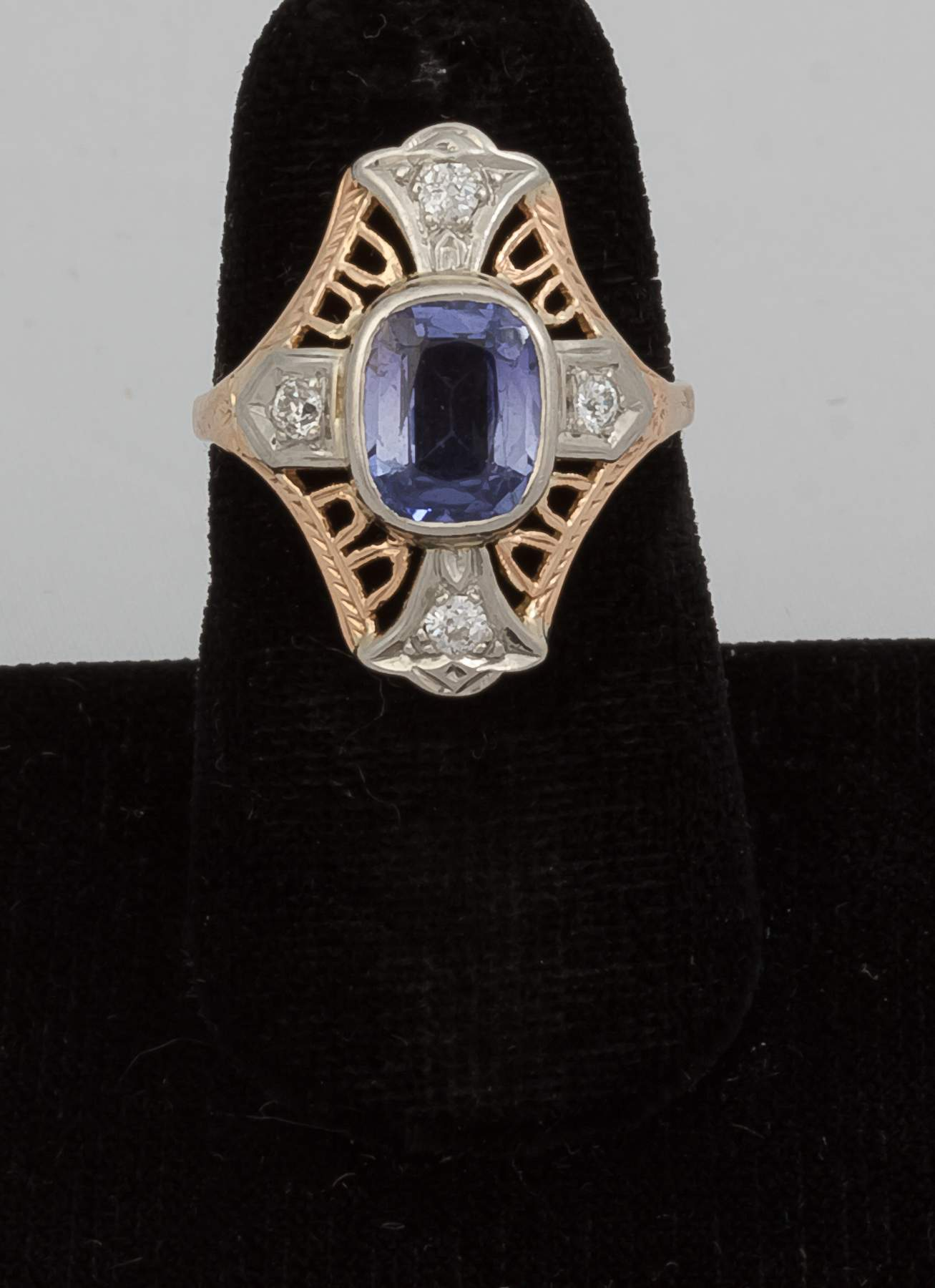 14k Gold Ring with Synthetic Sapphire and Four ...