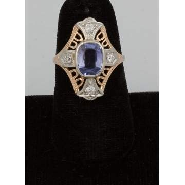14k Gold Ring with Synthetic Sapphire and Four  Diamonds