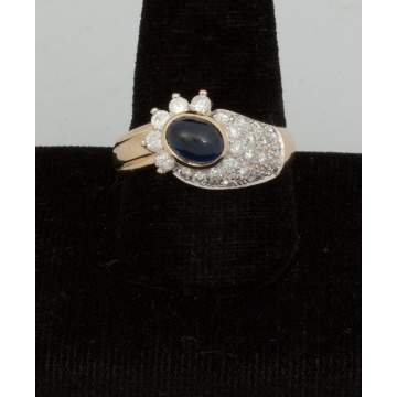 14k Gold Sapphire Cab. and Diamond Ring