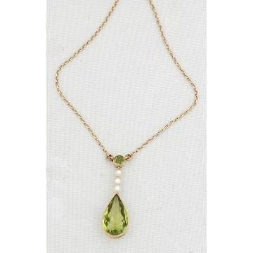 14k Gold Pendant Necklace with Peridot and Pearls