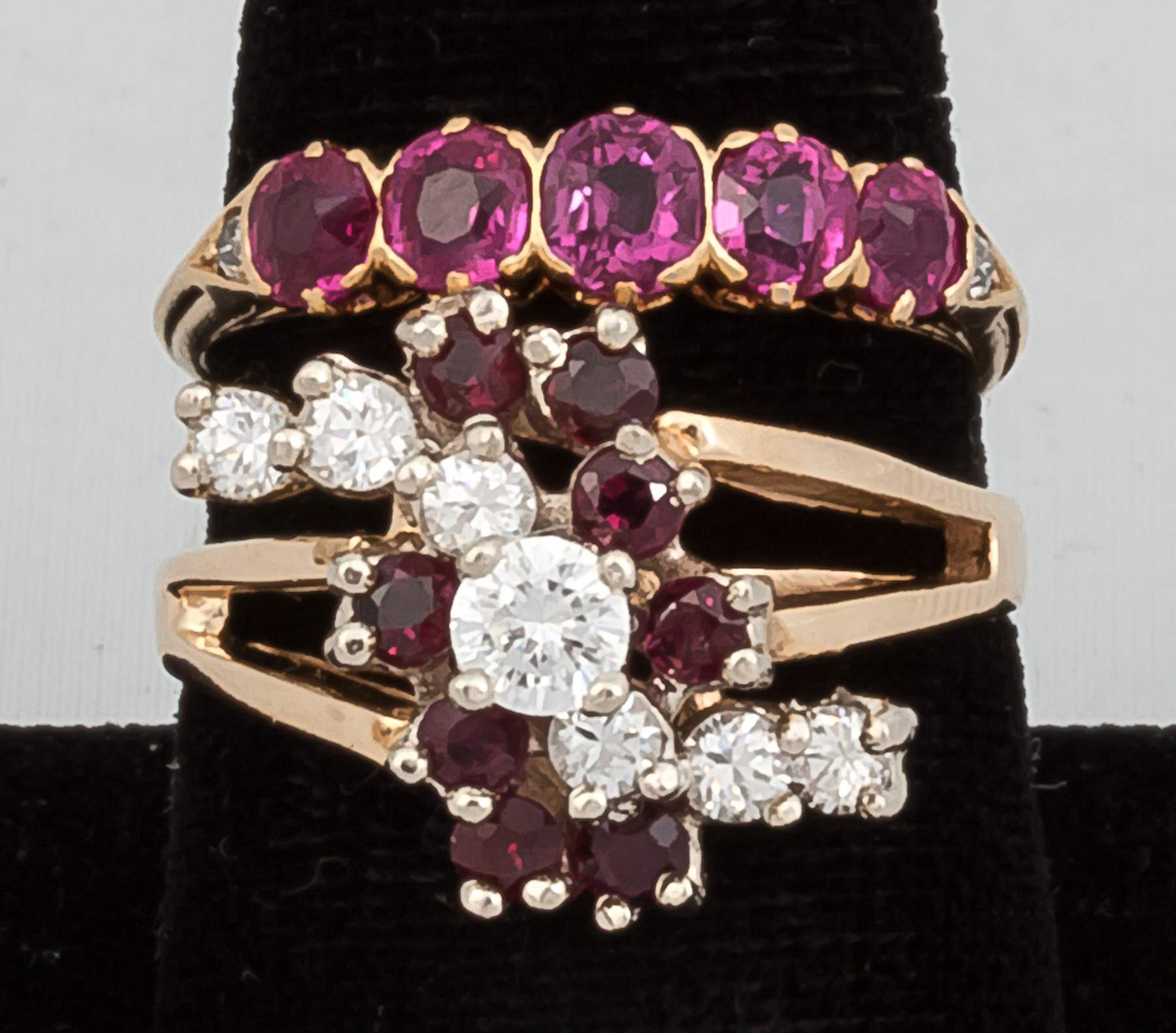 14k Gold Ring with Red Stones and 18k Gold 5...