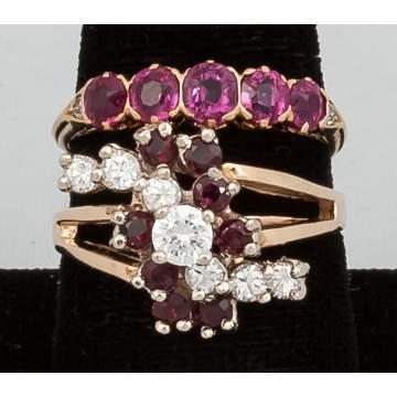 14k Gold Ring with Red Stones and 18k Gold 5 Stone  Pink Sapphire Band with Diamonds