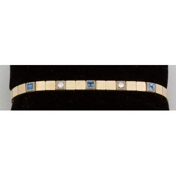 14k Gold Antique Square Link Bracelet with Two   Diamonds and 3 Sapphires