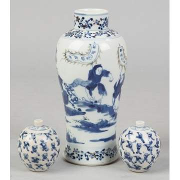 Blue and White Painted Porcelain Vases