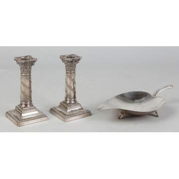 Silver Candleholders and Tiffany Dish