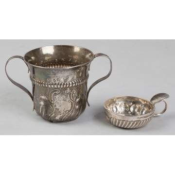 1767 English Sterling Silver Hand Chased Caudle  Cup and French  Wine Taster