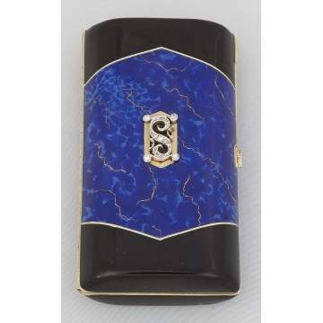 Gold and Enamel Cigarette Case with Diamonds