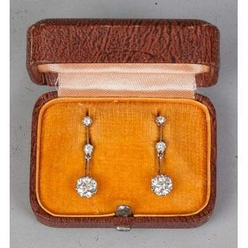 Pair of 18K Yellow Gold, Platinum and Diamond Drop Design Earrings