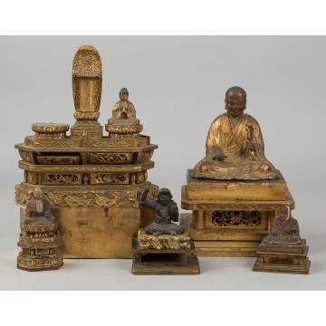 Various Carved Gilt wood Chinese and Japanese   Buddha's