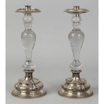 Pair Dominick & Haff Sterling & Cut Crystal   Candlesticks