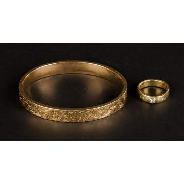 14K Gold Bracelet and 18K Gold and Diamond Ring