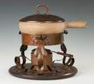 Benedict Studios Hand Hammered Copper and Oak   Chafing Dish