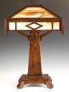 Arts and Crafts Quarter Sawn Oak Lamp with Slag  Glass Panels