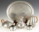 Tudric Hammered Pewter 5-Piece Tea Set with  Matching Tray