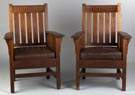 Arts & Crafts Slatted Back Arm Chairs