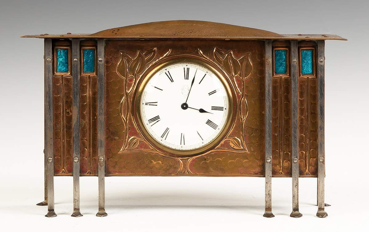 Hammered Copper and Steel Shelf Clock
