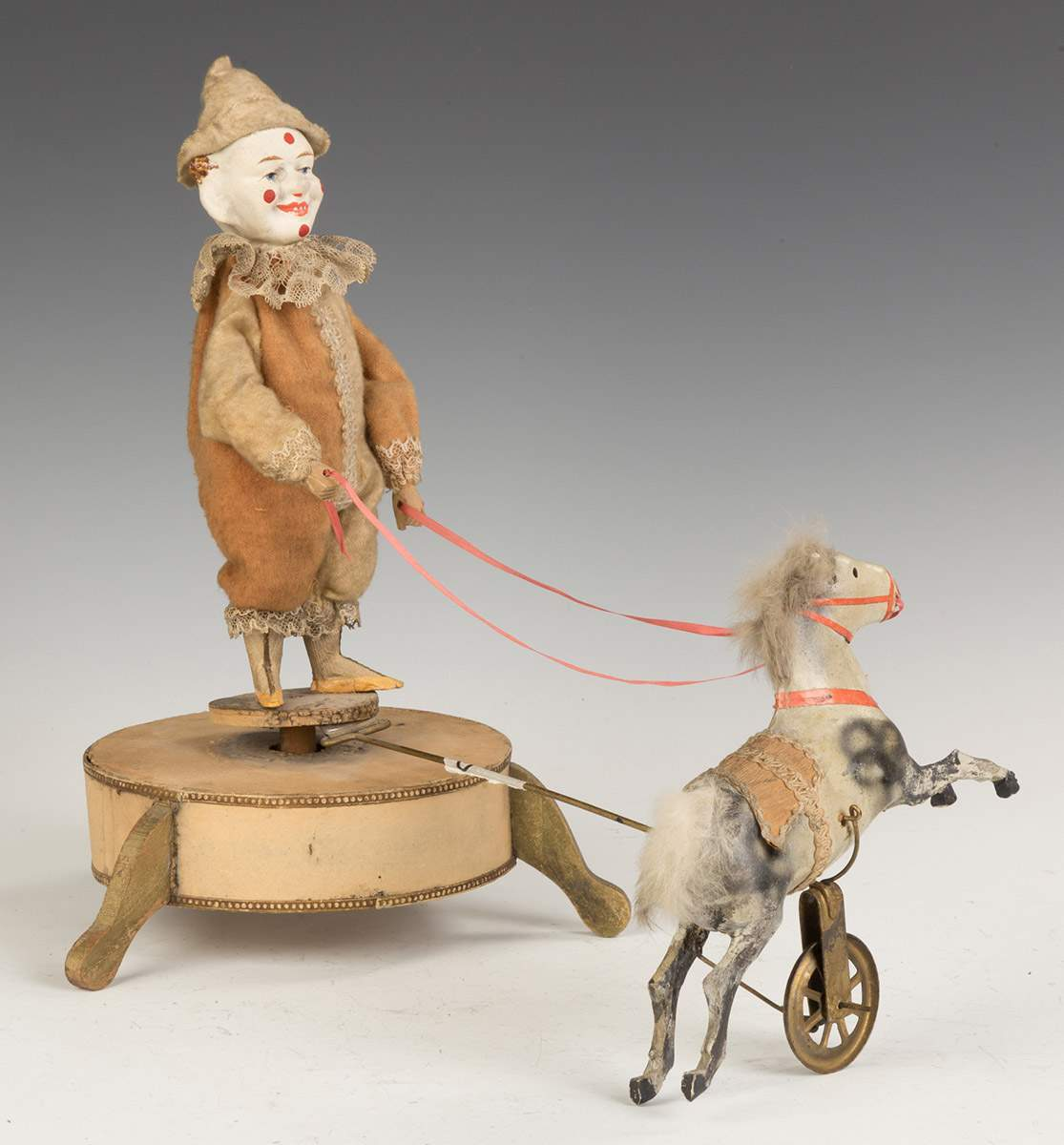 Paper Mache & Composition Clockwork Clown & Horse   Toys