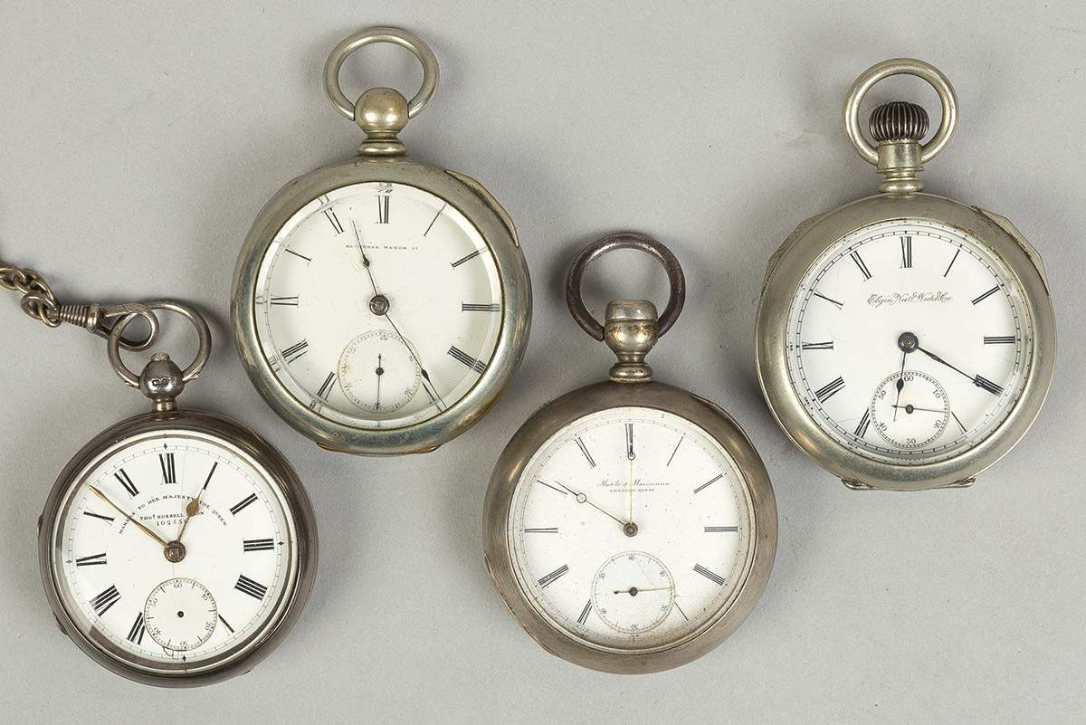 Four Early Coin Silver Pocket Watches