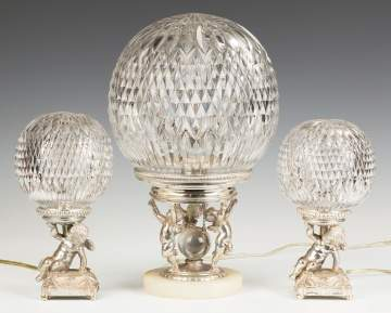 Pairpoint Silver Plated Lamps on Cut Glass Bases