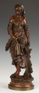 Eutrope Bouret (French, 1833-1906) Bronze of a Lady with Sheaves of Wheat