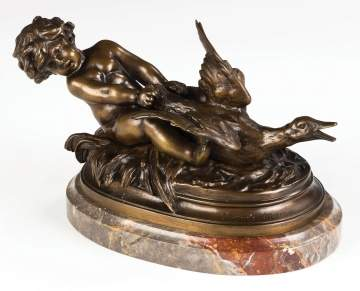 Auguste Moreau (French, 1826-1897) Bronze of a Putti and Goose