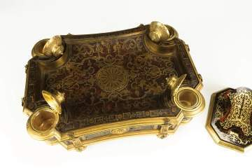 Boulle and Gilt Bronze Desk Set with Inkwells with  a Letter Clip