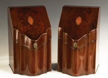 A Fine Pair of Federal Figured Mahogany Inlaid Knife Boxes