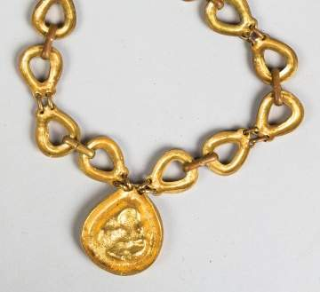 Line Vautrin (French, 1913-1997) Gilded Bronze Necklace