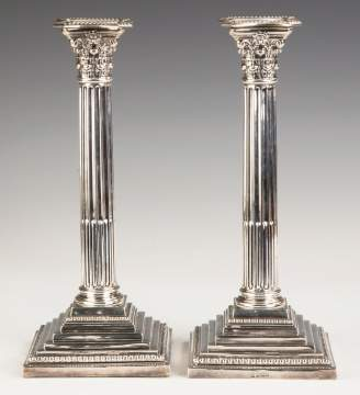 Pair of William Charles Fordham & Albert Faulkner, English, Classical Sterling Silver Candlesticks