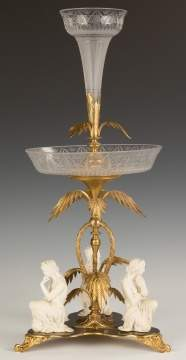 French Gilt Bronze, Bisque Porcelain and Cut Glass  Centerpiece