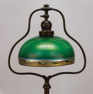 Fine Steuben Deep Green Aurene Lamp on a Handel Harp Lamp Base