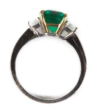 Ladies Platinum and 18K Gold Traditional Style Emerald Ring