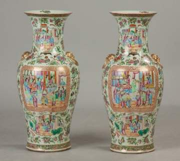 Pair of Chinese Famille Rose Floor Vases