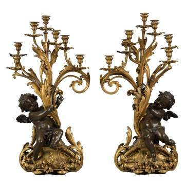Fine Monumental French Gilt Bronze and Bronze Candelabras with Cherubs French