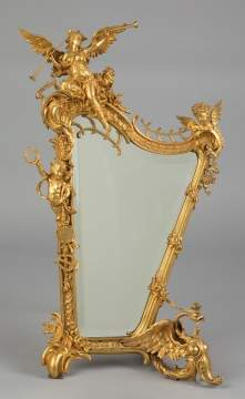 A  Fine Gilt Bronze Harp Form Mirror