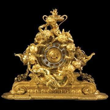 Monumental French Napoleon III Gilt Bronze Mantel Clock With Cherubs