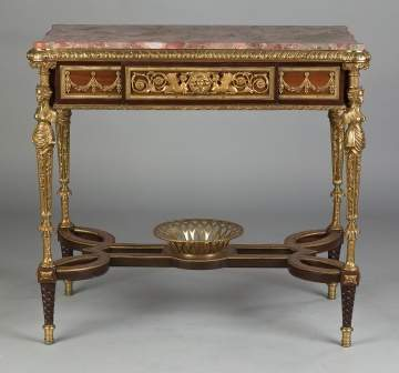 French Style Mahogany and Gilt Bronze Side Table with Drawer