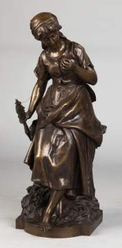 Mathurin Moreau (French, 1822-1912) Bronze of  Woman Spinning Yarn