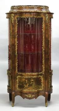 Vernis Marten Style Kingwood and Brass Mounted  Vitrine