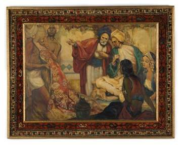 "Middle Eastern Painting ""Rug Dealer"" with a Persian Oriental Rug Boarded Frame"