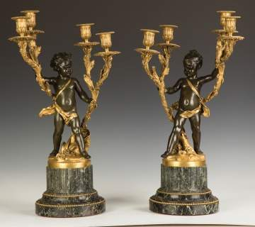Pair of French Gilt and Patinaed Bronze Candelabras