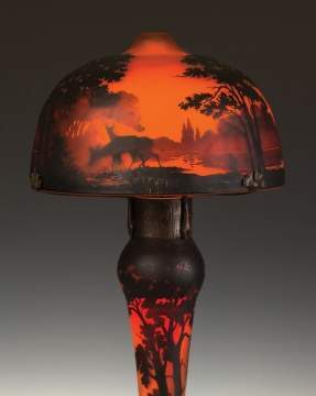 Muller Freres Cameo Lamp with Sunset, Lake and Deer